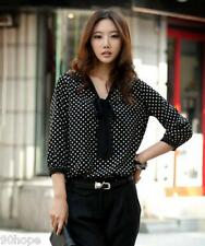 Ladies Size 8-14 Black Polka Dot Blouse Shirt Pussy Bow Business Work Tee Tops