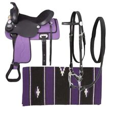 13 Inch Western Saddle Package - Black Leather -Purple Cordura - Unique Set