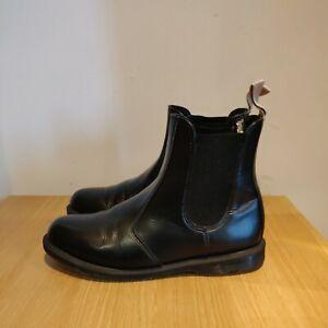 Dr Martens Vegan Flora Chelsea Boots Size UK 8 EU 42 Faux Black Leather Shoes