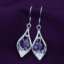Chic 925 Silver Purple Zircon Dangle Earrings For Women Chandeliers Elegant Gift