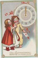 B 595 Neujahr ca.1910 ! Kinder um 24 Uhr ! Präge - Karte !