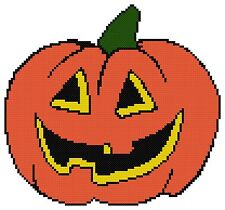 Counted Cross Stitch Pattern, Halloween Pumpkin - Free US Shipping