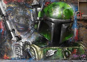 "28"" Not banksy Star Wars Street Art print boba fett Canvas Andy Baker painting"