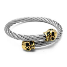 Luxury Hombre Twist Silver Cable Cuff Skull Bracelet Men Stainless Steel Bangle