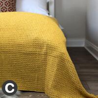 Luxury Cotton Ochre Mustard Yellow Double / King Size Bedspread Throw Waffle