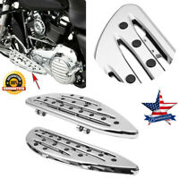 Chrome Deep edge cut Driver Stretched Floorboards for Harley Glide softail BF2