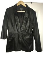 INC International Concepts Soft Leather Jacket One Button Closure Size 8