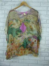 Tsumori chisato V-neck top Kaftan style green yellow purple Island print size 2