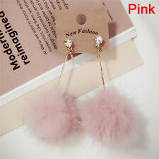 Fur Ball Pompom Long Earrings Drop Dangle Earrings Women Ear Studs Jewelry ATCA