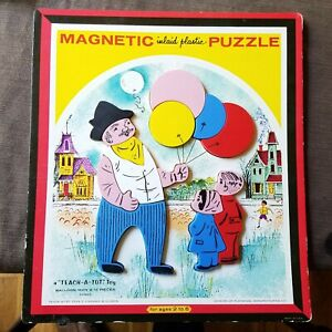Teach-a-Tot Magnetic Inlaid Plastic Puzzle Balloon Man T6580A Playskool 1960s