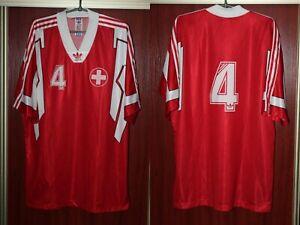 Switzerland Suisse Adidas Player Issue Home Red Rare Vintage Shirt Jersey Trikot