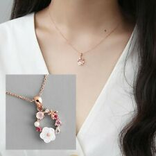 Fashion Garland Butterfly Flowers Pendant Necklace Crystal Shell Chain Jewelry