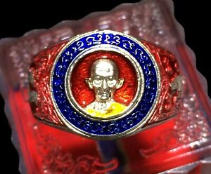 beautiful Thai Amulet Ring Silver Paint LP Ruay Charm Protect Lucky Rich