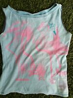 (skaen) Flamingo Teal & Pink Cotton Tank Top Shirt Size S