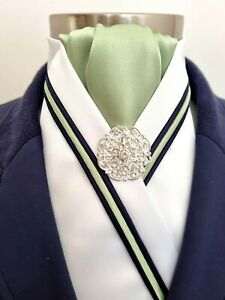 ERA Siena White Stock Tie with Lime Green & Navy Triple Piping and Brooch