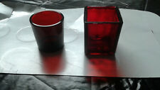 Ruby Red Votive and Matchstick/toothpick Holder by Hallmark and Anchor Hocking