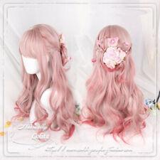 Sweet Kawaii Girls Lolita Harajuku Pink Gradient Hair Princess Cosplay Curly Wig