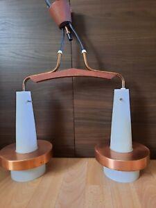 60er Jahre Designer Lampe Deckenlampe aus Teak, Kupfer und Opalglas