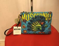 SS17 Moschino Couture X Jeremy Scott Blue Multi-color Peacock Clutch Bag Pouch
