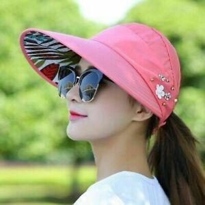 Sun Hat Ladies Wide Brim Anti-UV Foldable Womens Beach Hats Multi Color UK