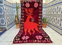 "Old Moroccan Rug Azilal Vintage Handmade kilim Rug Berber Wool Carpet 7'6"" x3'2"""