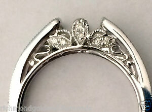 Size 9 Vintage Cathedral Ring Wrap Diamonds Guard Solitaire Enhancer White Gold
