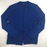 Exclusively Misook Womens S Cardigan Sweater Jacket Cobalt Blue Open Front Check