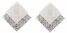 Clip On Earrings - silver plated earring with a white stone & crystals - Bess W