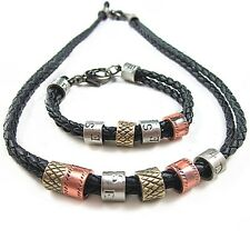 NEW Leather Braided Metal Pendants Surfer Necklace Bracelet Wristband Set Lot