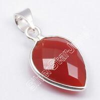925 Sterling Silver Carnelian Pendant Women's Gems Jewelry