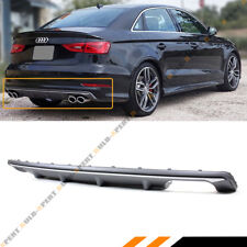FOR 2014-2016 AUDI A3 4DR SEDAN 8V S3 STYLE QUAD EXHAUST REAR BUMPER DIFFUSER
