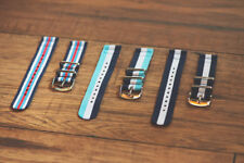2 Piece Classic NATO Striped Nylon Replacement Watch Band - Choose your size!
