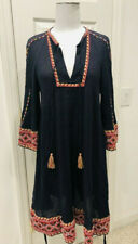 French Connection Boho Adanna Embroidered Black Crinkle Smock Dress Size 6 EU