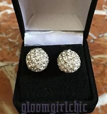 FIREBALL Stud Earrings Rhodium Plated (Necklace in Separate Listing) BRAND NEW!