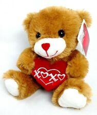 "NWT Dan Dee 9"" Gold TEDDY BEAR Stuffed Plush  XOXO Kisses & Hugs RED HEART"