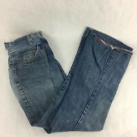 Womens Straight Leg Jeans Blue Zip Fly Mid Wash Ultra Low Rise Pockets Cotton 26