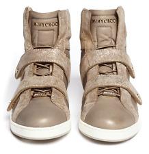 $790 Jimmy Choo Yazz Metallic Beige  Sneakers High Top Flat Shoe 40- 9