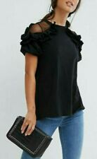 Ruffle top with black sheer shoulder detail by ASOS  Bnwt 12