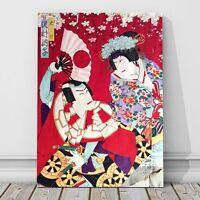 "Japanese Kabuki Art CANVAS PRINT 8x12"" Two Actors ~ Kunichika #12"