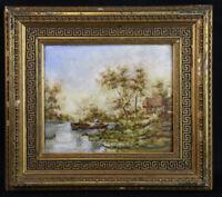 Paysage à la barque peinture sur porcelaine 1883 entourage école de Barbizon