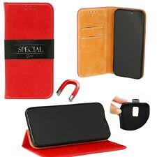 Echt Leder Book Style Case Wallet Handy Tasche Hülle ROT Für Huawei Y6 Pro 2019