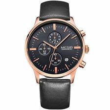 MEGIR 2011 Luxury Brand Chronograph Watch with Black Leather Strap For Men