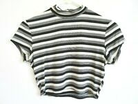 Vtg 90s Striped Stretch Bodycon Sporty Club Kid Rave Hip Hop Crop Top Shirt M L