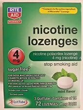 Rite Aid Nicotine Lozenges 4 mg Mint 72 Count Exp. 9/2018