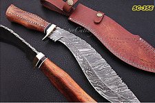 RARE UNIQUE HAND FORGED SALE DAMASCUS STEEL KUKRI KNIFE - ROSEWOOD HANDLE