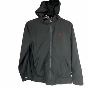 Polo Ralph Lauren Boys L 14-16 Hooded Jacket Black Windbreaker Coat Light Weight