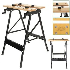 WOODEN FOLDABLE WORKBENCH PORTABLE BENCH WORK CLAMPING FOLDING WORKTOP TABLE