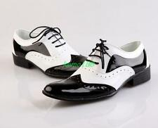 Mens Brogue Pointed Patent Dress formal Shoes Black And White lace up oxford