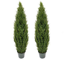 2 Artificial 5' Cedar Topiary Potted Tree In Outdoor Patio Decor 015