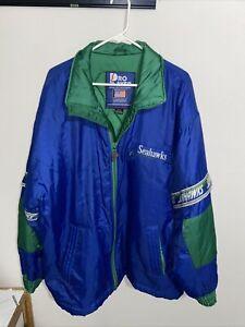 Vintage 1980's NFL Seattle Seahawks Starter Pro Line Blue Bomber Jacket Size M
